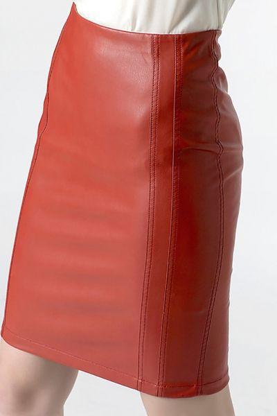 Falda PATRIZIA PEPE ecopiel roja
