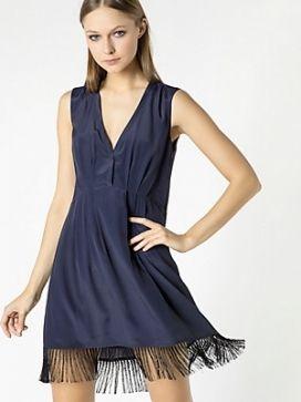 Vestido PATRIZIA PEPE flecos azul
