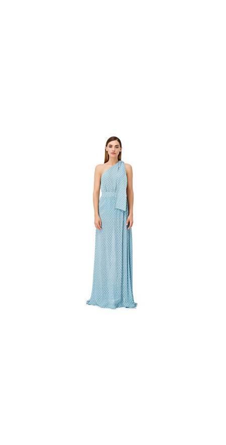 Vestido ELISABETTA FRANCHI con hombro al descubierto estampado de rombos