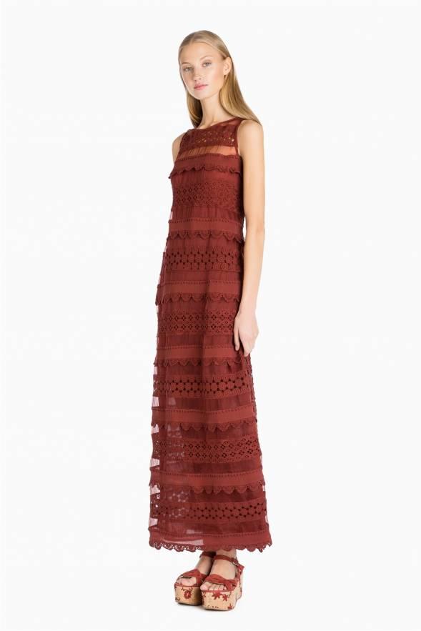 Vestido largo TWINSET de macramé